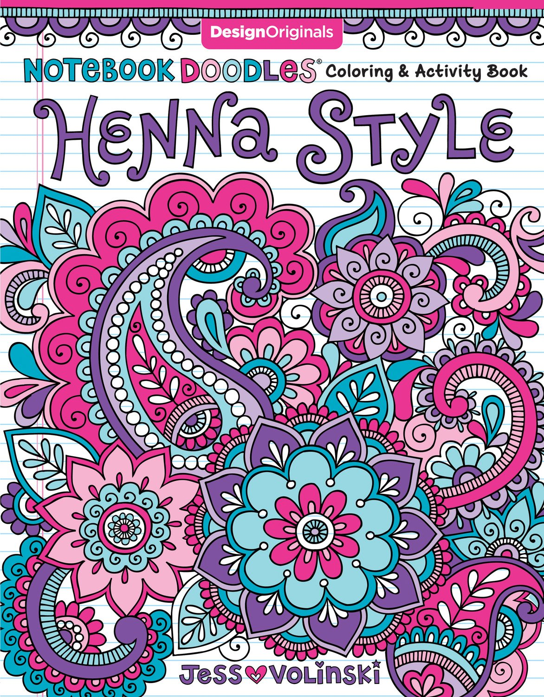 Notebook Doodles Henna Style Coloring Activity Book Design Originals 32 Decorative Art Designs Beginner Friendly Soothing Inspiring Activities