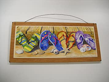 Flip Flops and Sea Shells Beach House Wooden Wall Art Sign & Amazon.com: Flip Flops and Sea Shells Beach House Wooden Wall Art ...