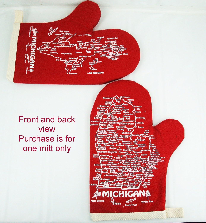 Michigan Oven Mitt-Upper & Lower Peninsula Map-Red-Qty-1