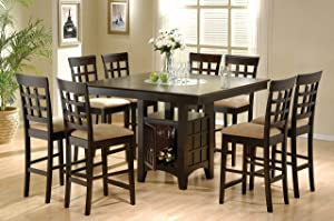 Coaster Home Furnishings Clanton 9-Piece Square Dining Counter Height Set, Table, Cappuccino and tan