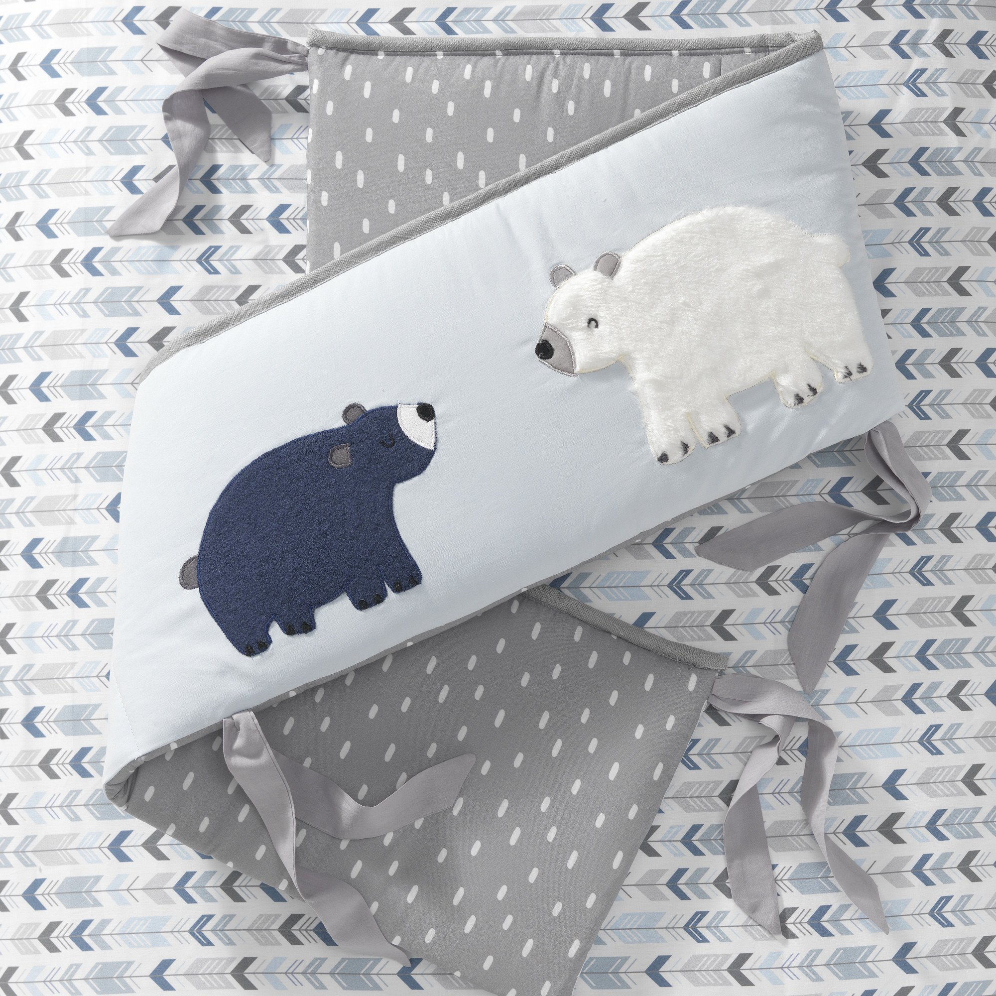 Lambs & Ivy Signature Montana Blue/Gray/Brown Bear 4 Piece Crib Bumper by Lambs & Ivy