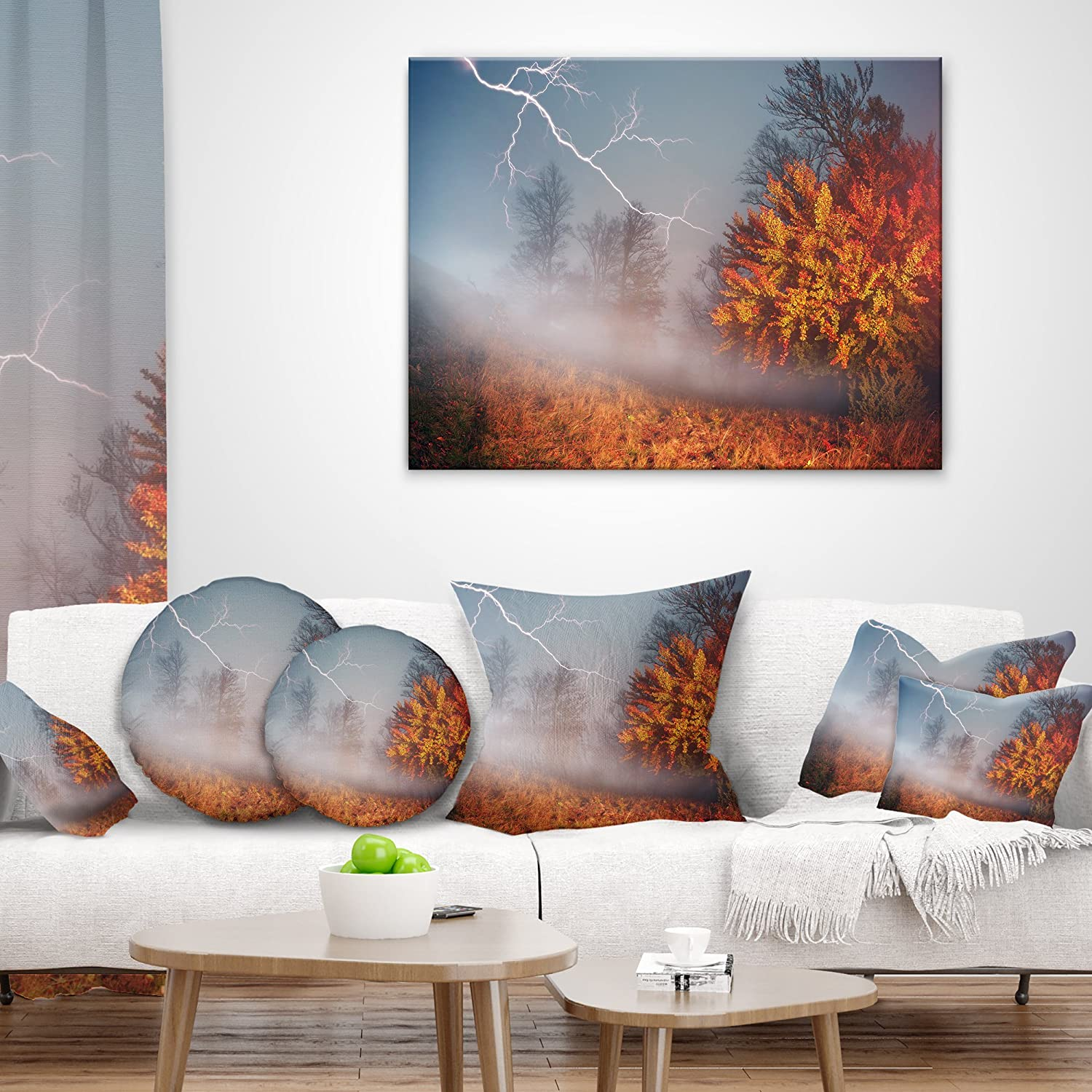 Designart CU9539-18-18 Lighting in Yellow Autumn Forest Landscape Photography Cushion Cover for Living Room in x 18 in Sofa Throw Pillow 18 in