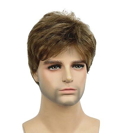 Amazon Com Lydell Men Wig Golden Brown Mix Short Straight Hair