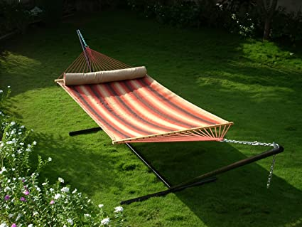 Two person Quilted hammock with 15ft Steel stand - Terracotta stripe