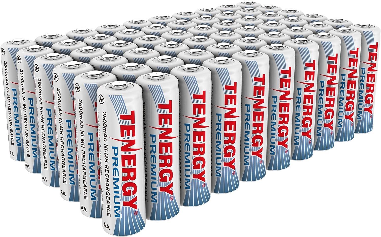 B003YW8IKU Tenergy Premium Rechargeable AA Batteries, High Capacity 2500mAh NiMH AA Battery, AA Cell Battery, 60-Pack 91bMx2B8kkPL