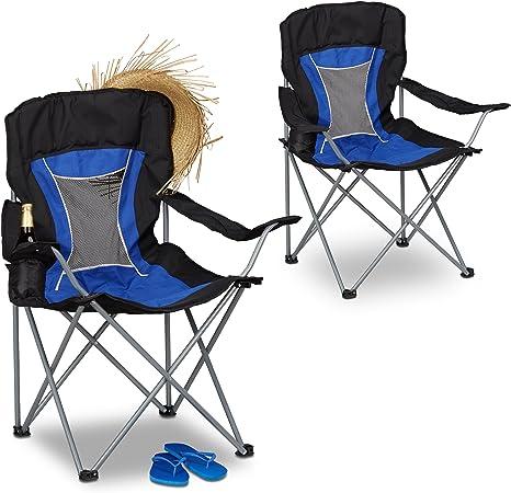 Relaxdays Pack de 2 Sillas Plegables Camping para Pesca y ...