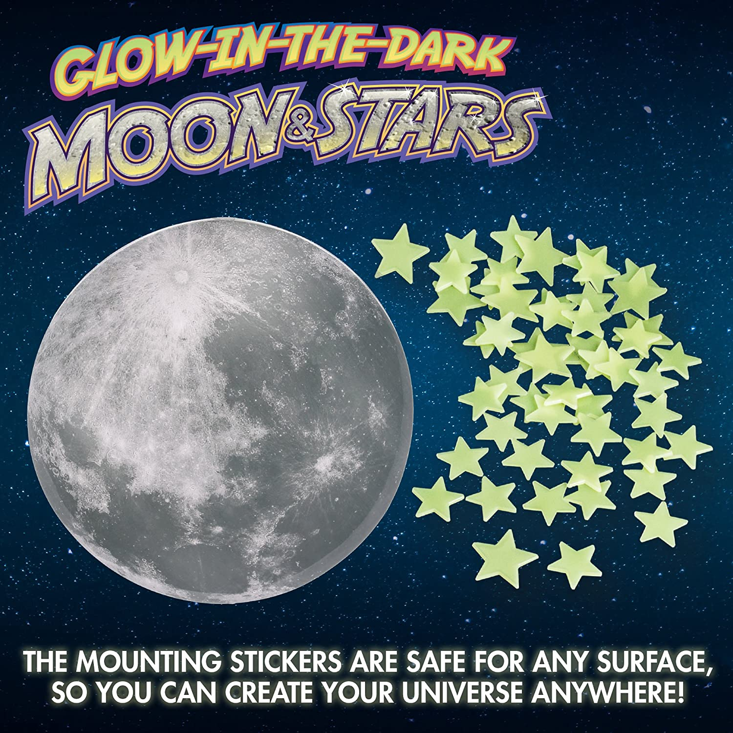 amazon com glow in the dark moon and stars wall and ceiling decals