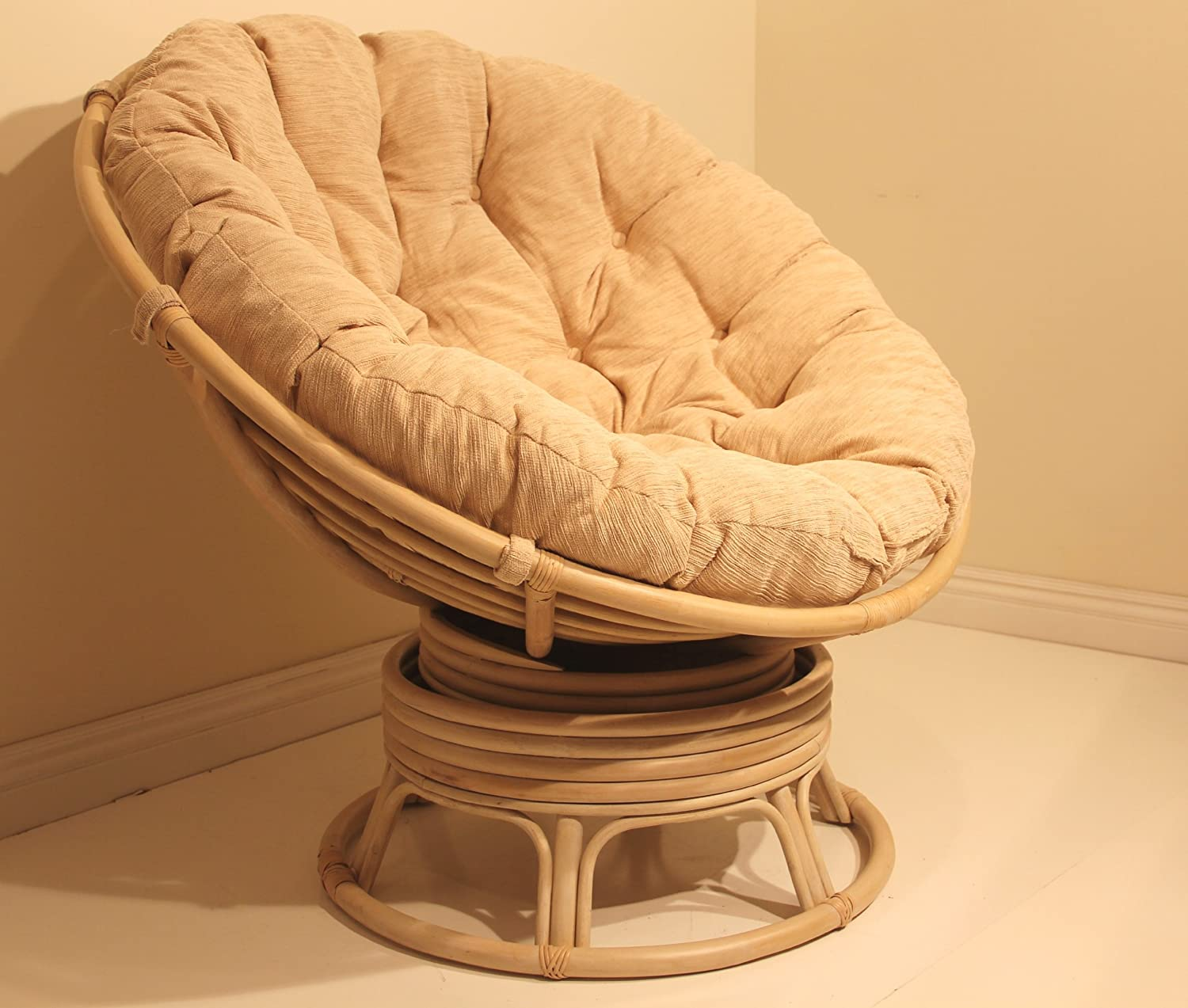 Rattan Wicker Swivel Rocking Round Papasan Chair with Cushion Colonial