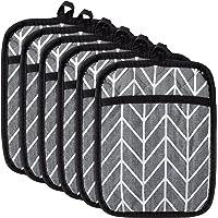 6Pcs Pot Holder with Pocket for Kitchen Blue Arrow Pocket Pot Holder Set Cotton Heat Resistant Potholder Terry Cloth…