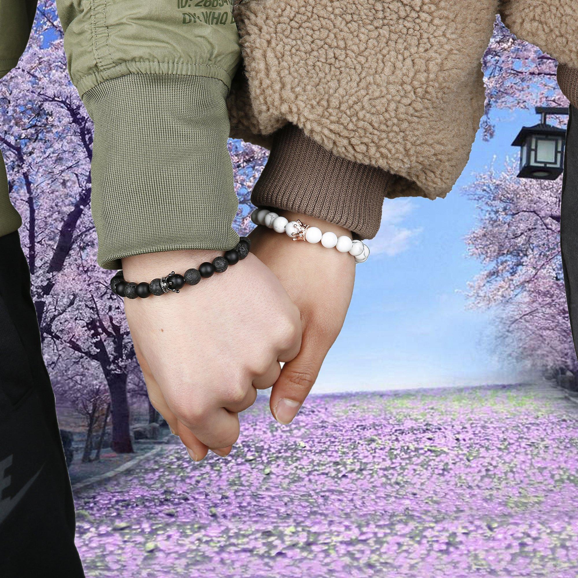 FIBO STEEL 4 Pcs Couples Bracelet for Men Women His & Her Crown Queen Bracelets Set 8mm Beads Bracelets by FIBO STEEL (Image #6)