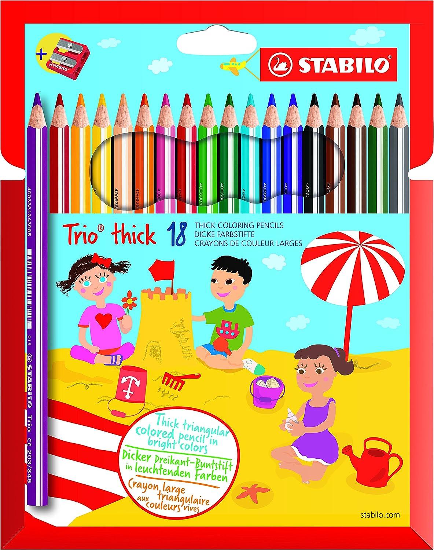 STABILO Trio Maxi matita colorata colori assortiti con Temperino Astuccio da 18 /& Faber-Castell 117697 Matita Grafite