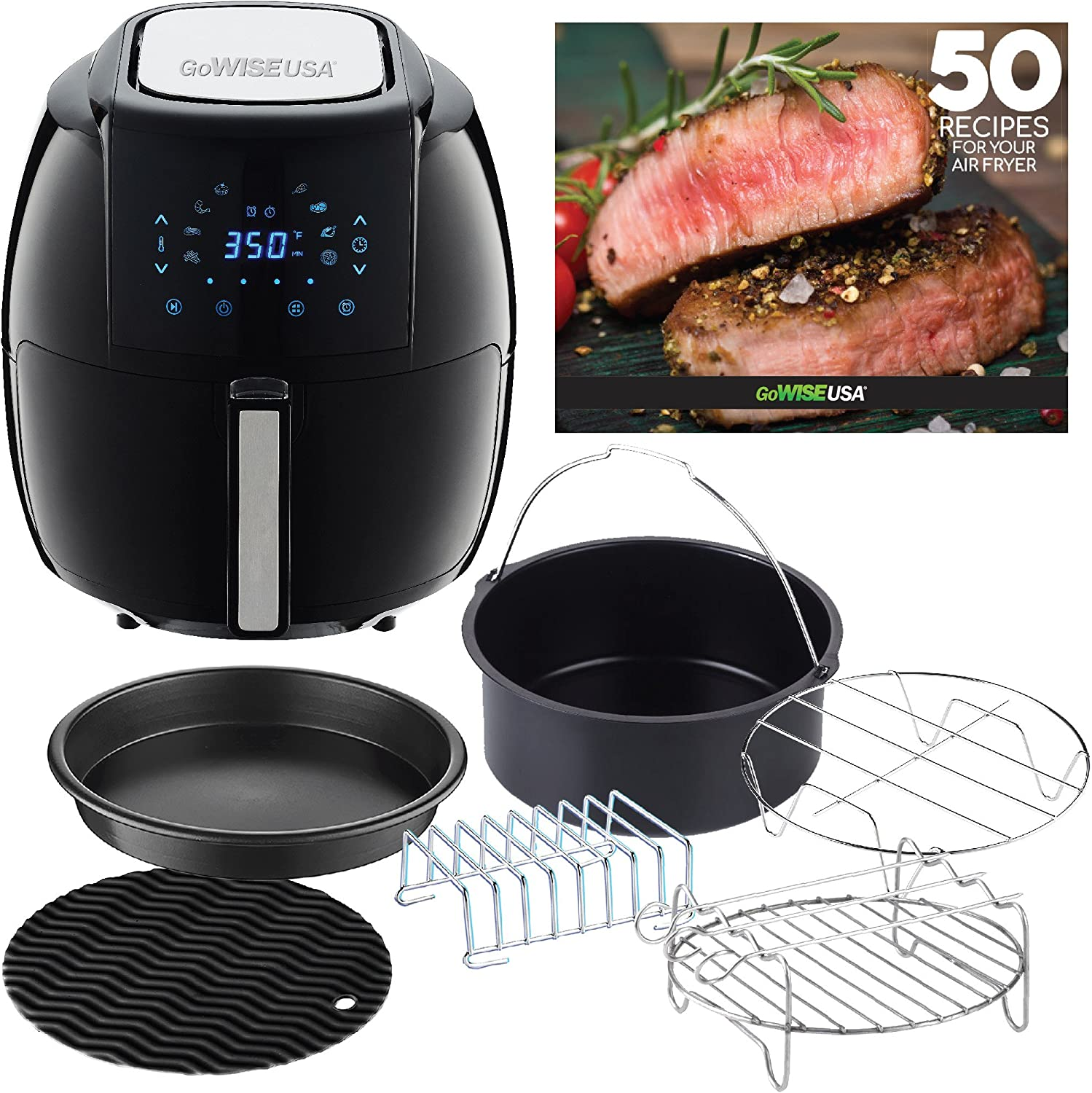 GoWISE USA GWAC22003 5.8-Quart Air Fryer with Accessories, 6 Pcs, and 8 Cooking Presets 50 Recipes Black , Qt