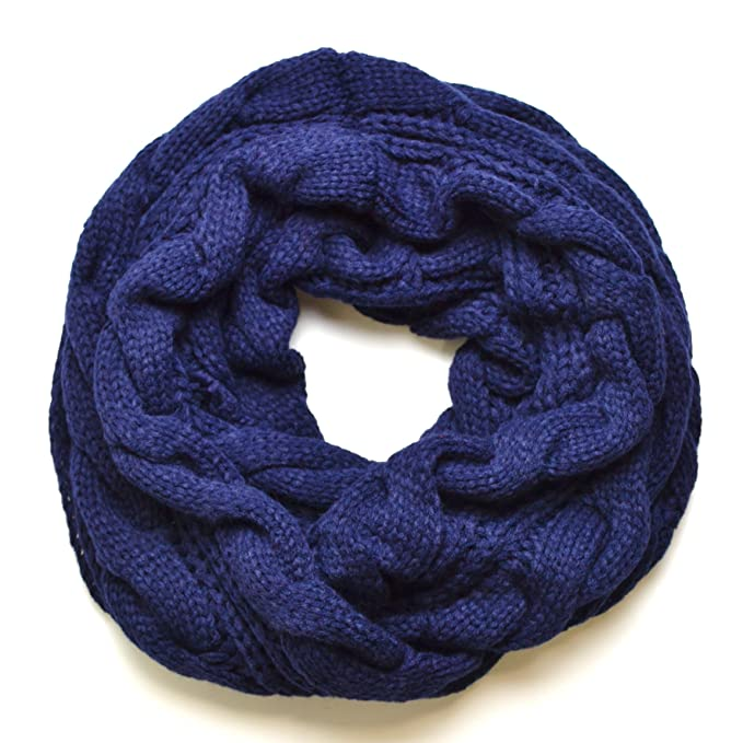 Royal Navy Blue Chunky Knitted Infinity Loop Circle Scarf Cable ...