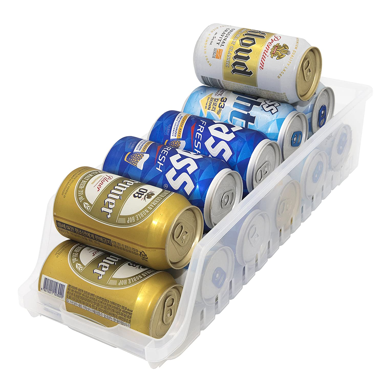 Fridge Beverage Can Storage Rack Organizer Holder Dispenser Organize Cans and Saves Space, Translucent Soft Design For Refrigerator, Cabinets, Pantry, Countertops, Kitchen, Safe and Slim