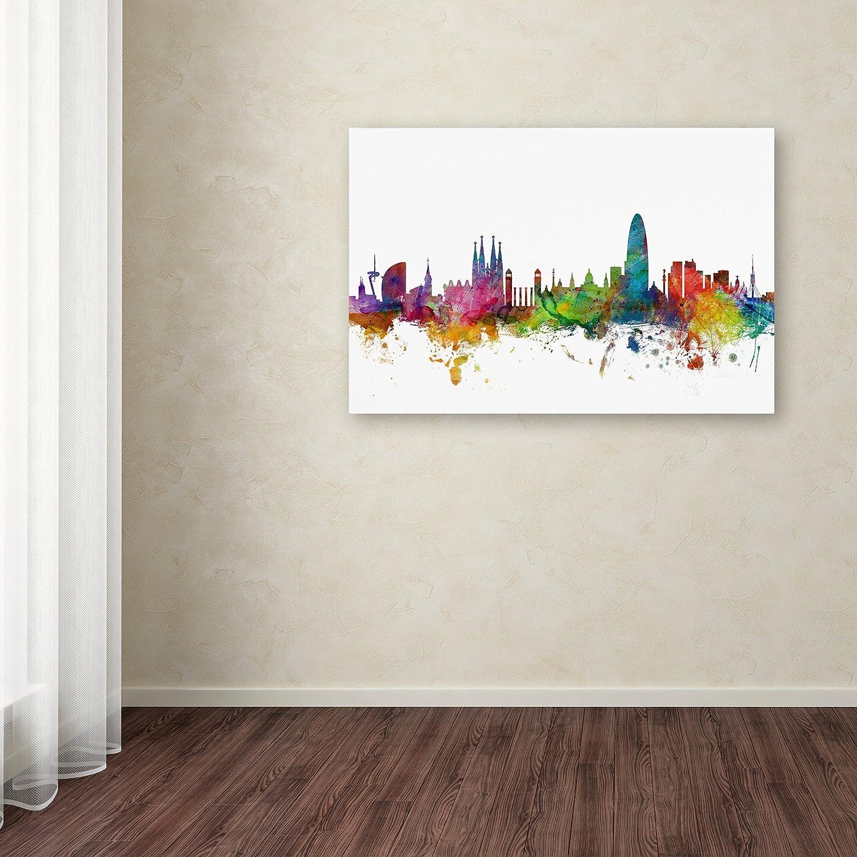 Barcelona Spain Skyline by Michael Tompsett, 30×47-Inch Canvas Wall Art