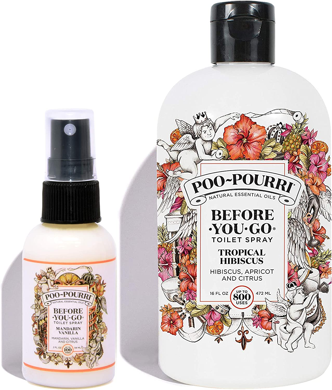 Poo-Pourri Tropical Hibiscus 16 Ounce Refill Bottle and Mandarin Vanilla 2 Ounce Before You Go Toilet Spray
