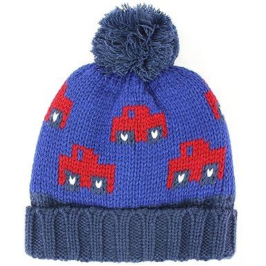 7e8ba854536 Jiglz chunky knit bobble beanie hat with car design and fleece lining -  Blue  Amazon.co.uk  Clothing