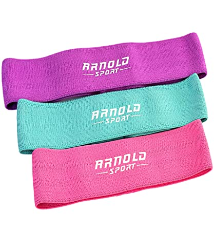 Arnold Sport Booty Resistance Workout Hip Exercise Bands (Set Of 3) Slingshot Fabric Fitness Loop Circle Bands For Legs And Butt   Activate Glutes And Thighs – Thick And Wide by Arnold Sport