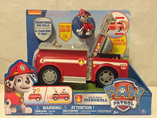 Amazon.com: Nickelodeon, Paw Patrol - On a Roll Marshall and Nickelodeon, Paw Patrol - Chases Cruiser: Toys & Games
