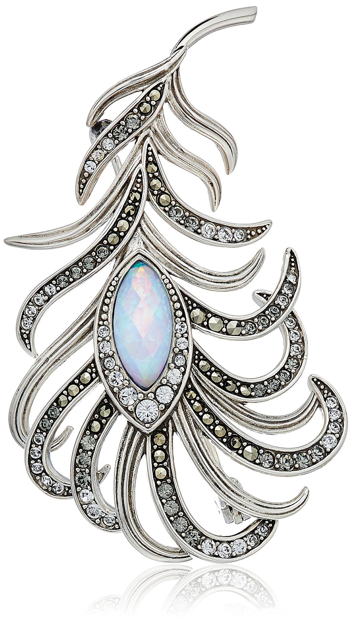Judith Jack Sterling Silver Swarovski Marcasite and Crystal Pave Feather Brooches and Pin