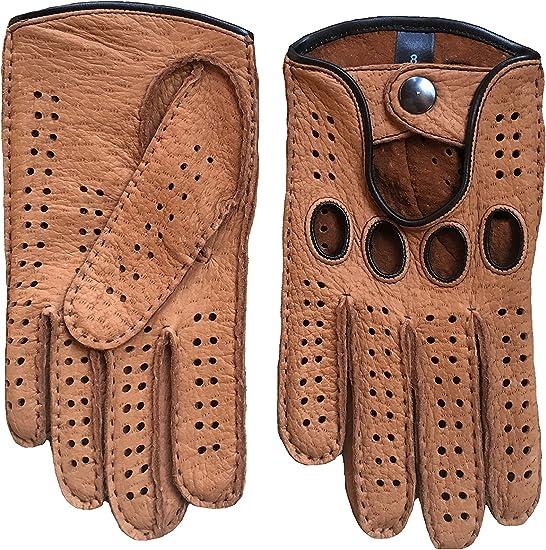 Women/'s Driving Leather Gloves Black White Handmade Hungant Gloves