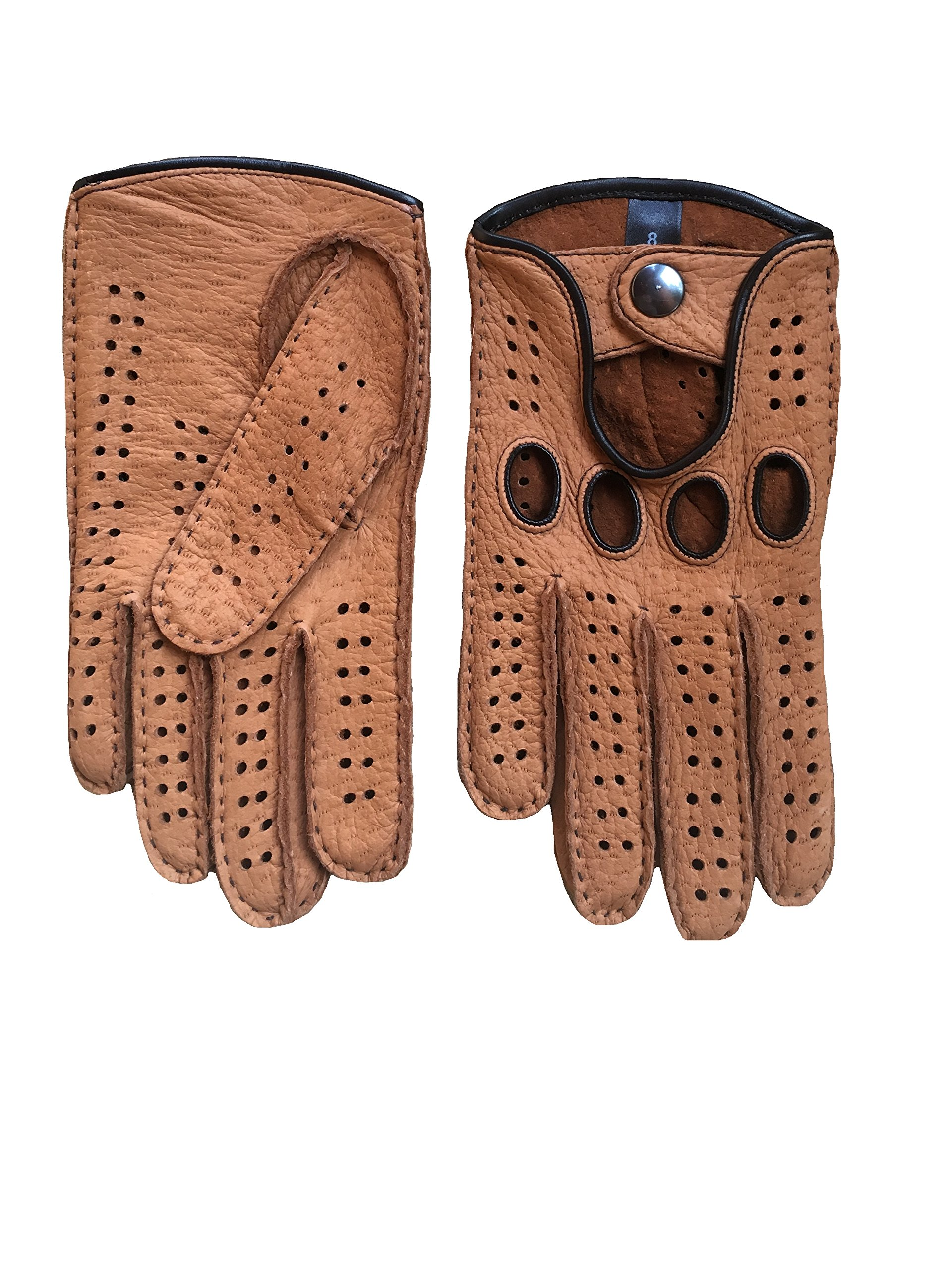 Men's Peccary Driving Gloves Color Cork by Hungant (8, Cork)