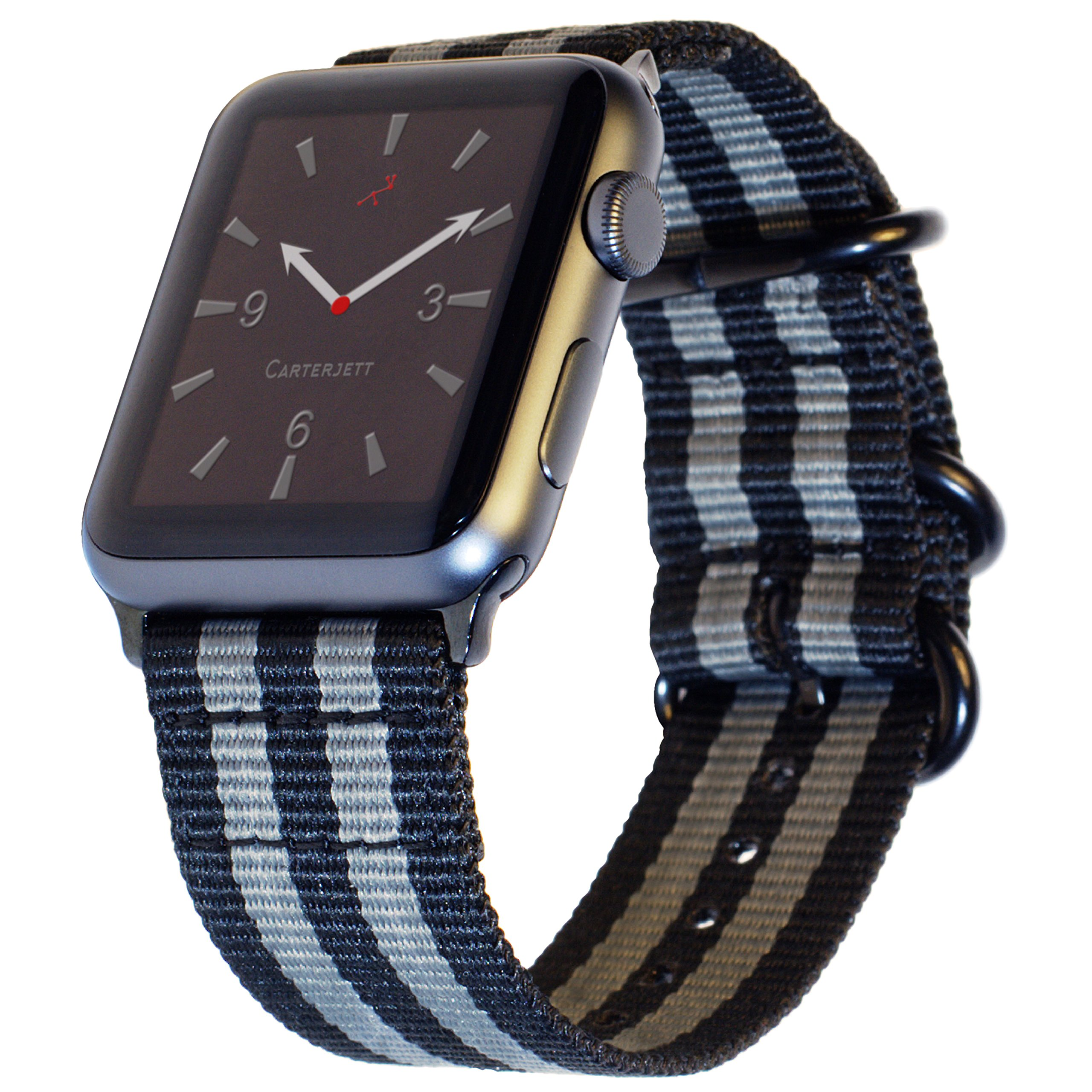 Carterjett Compatible Apple Watch Nylon Band 42mm iWatch Band Replacement Strap Durable Woven Canvas Stripe NATO Hardware Compatible Apple Watch Sport, Nike Series 1 2 3, 42 S/M/L Space Gray/Black