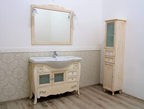 Mobile bagno bombato avorio decape\' + colonna shabby chic ...
