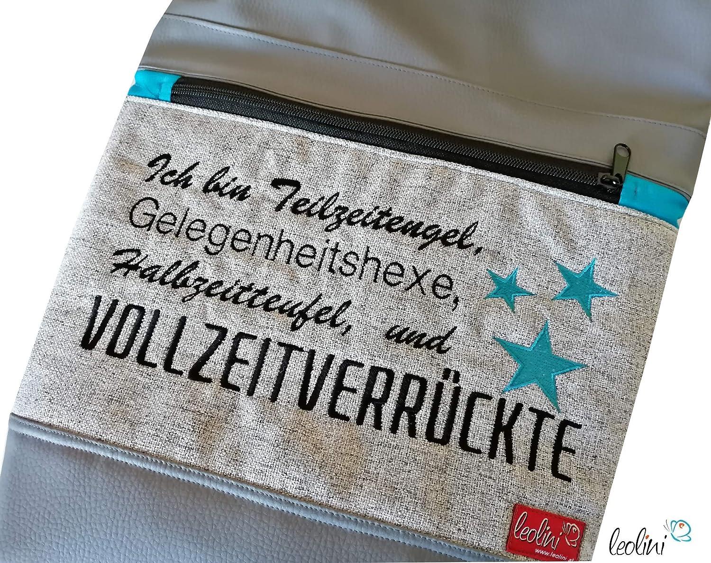 Foldover Tasche Spruch Vollzeitverr/ückte Stickerei handmade Foldovertasche mit Au/ßenfach