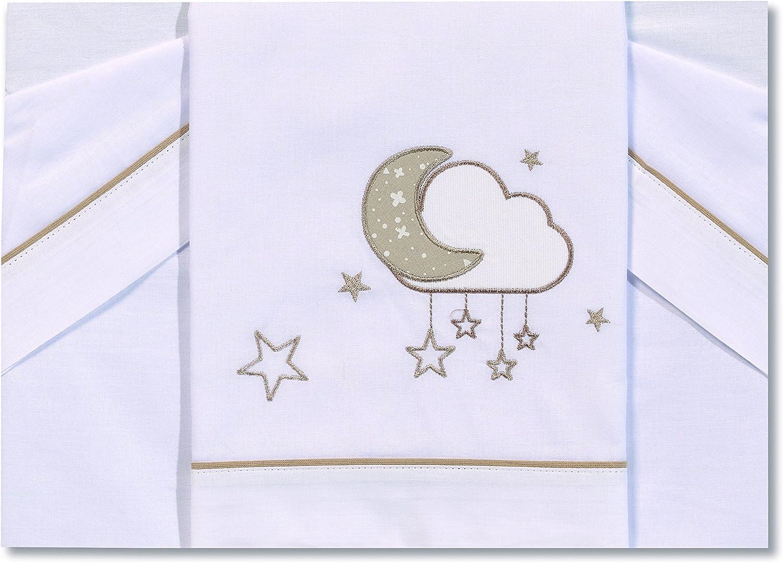 Petite stars 00922820 S/ábanas 80 x 140 cm color blanco y gris dise/ño nube