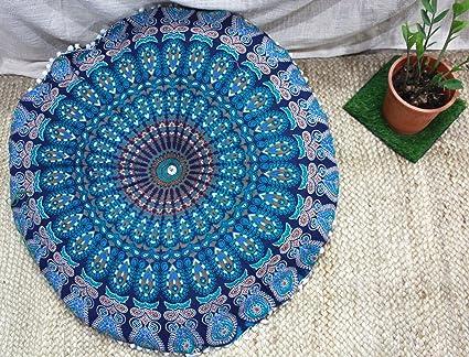 32 cm Cojín de suelo indio funda de algodón redonda de ...