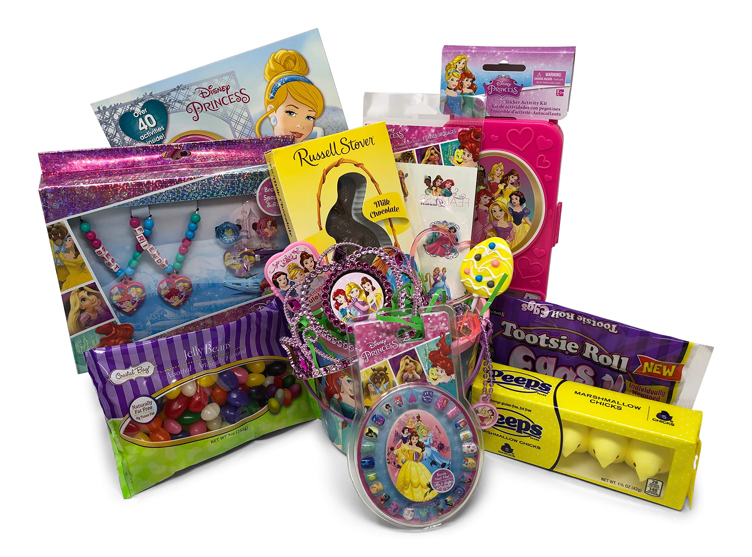 Disney Princess Easter Basket Pre Filled with Easter Candy, Easter Toys, Easter Basket Filler, and Easter Basket Grass | Great for Kids, Boys and Girls