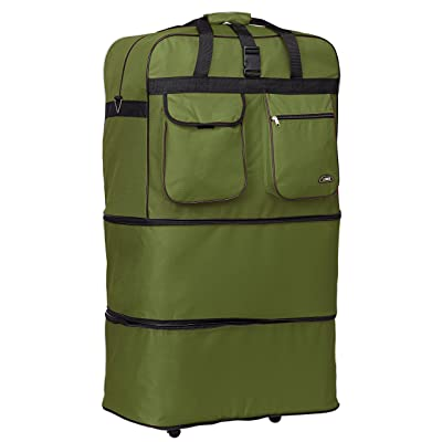 "36"" Rolling Wheeled Duffle Bag Spinner Suitcase Luggage Expandable (36 Inch, Khaki)"