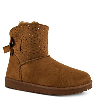 Damen Schlupfstiefel gef ttert Boots Stiefeletten Glitzer Schnee Outdoor ST905