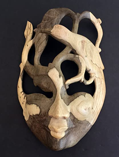 Amazoncom Oma Wood Carved African Mask Wall Art Goddess Of