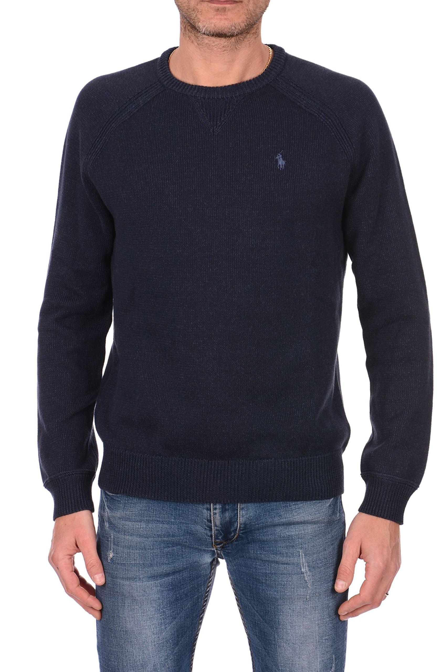 Polo Ralph Lauren Mens Crew Neck Pullover Sweater, Navy Heather, Medium