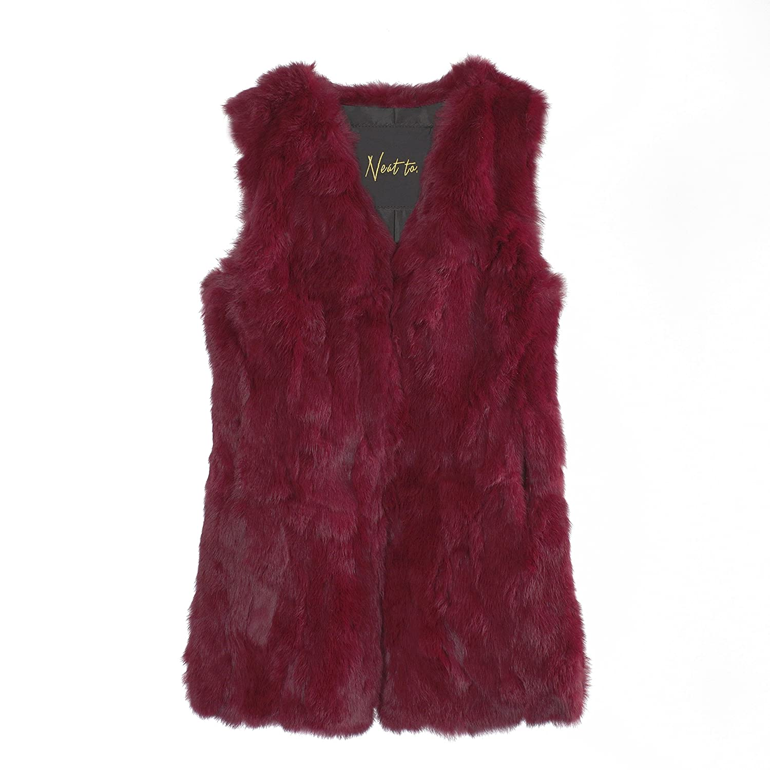 Elegant real fur vest NATAL for ladies, out of rabbit fur from Neat to. available in Black, Taupe, Beige, Darkred (Darkred, S/M)