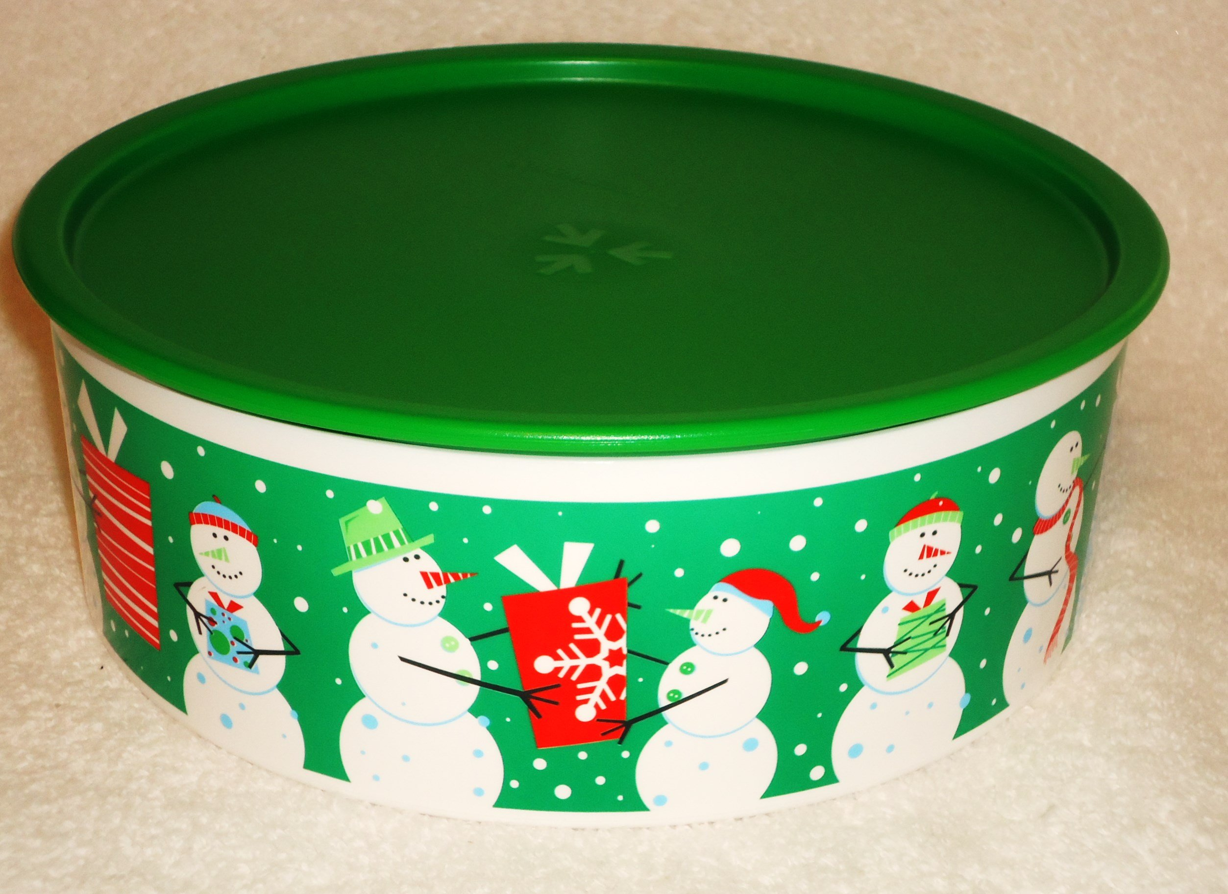 Tupperware 9'' Holiday Snowman One Touch Cookie Canister 2013