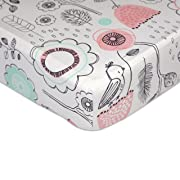 Lolli Living 100% Cotton Crib Fitted Sheet. Sparrow Pattern Ultra-Soft Fitted Crib Sheets (Standard Size)