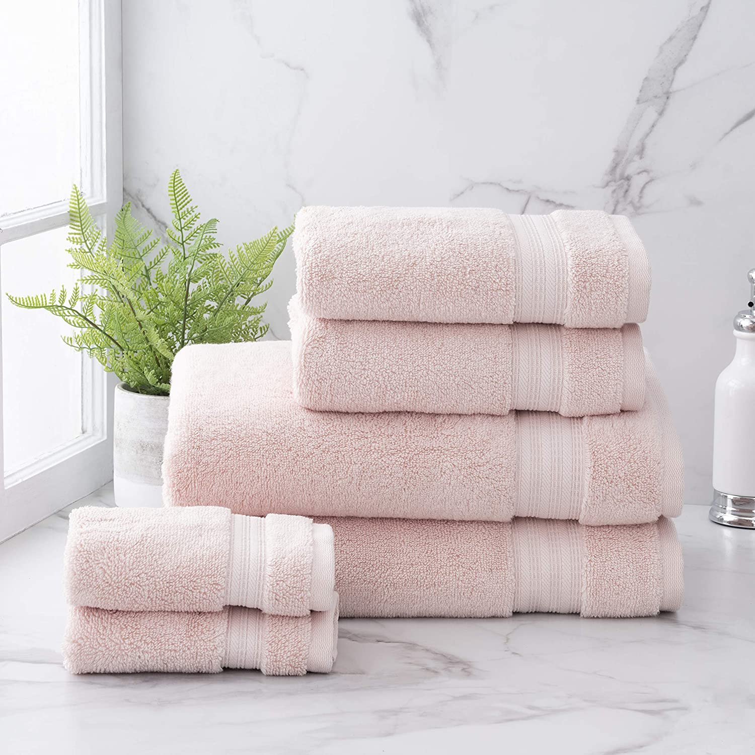 Welhome Cotton Rayon from Bamboo Bath Towel (Blush) - Set of 6 -Soft & Fluffy -Highly Absorbent -Fade Resistant - Durable - Machine Washable - 2 Bath - 2 Hand - 2 Wash Towels