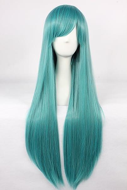 Cosplay peluca verde peluca verde largo peluca Pelucas