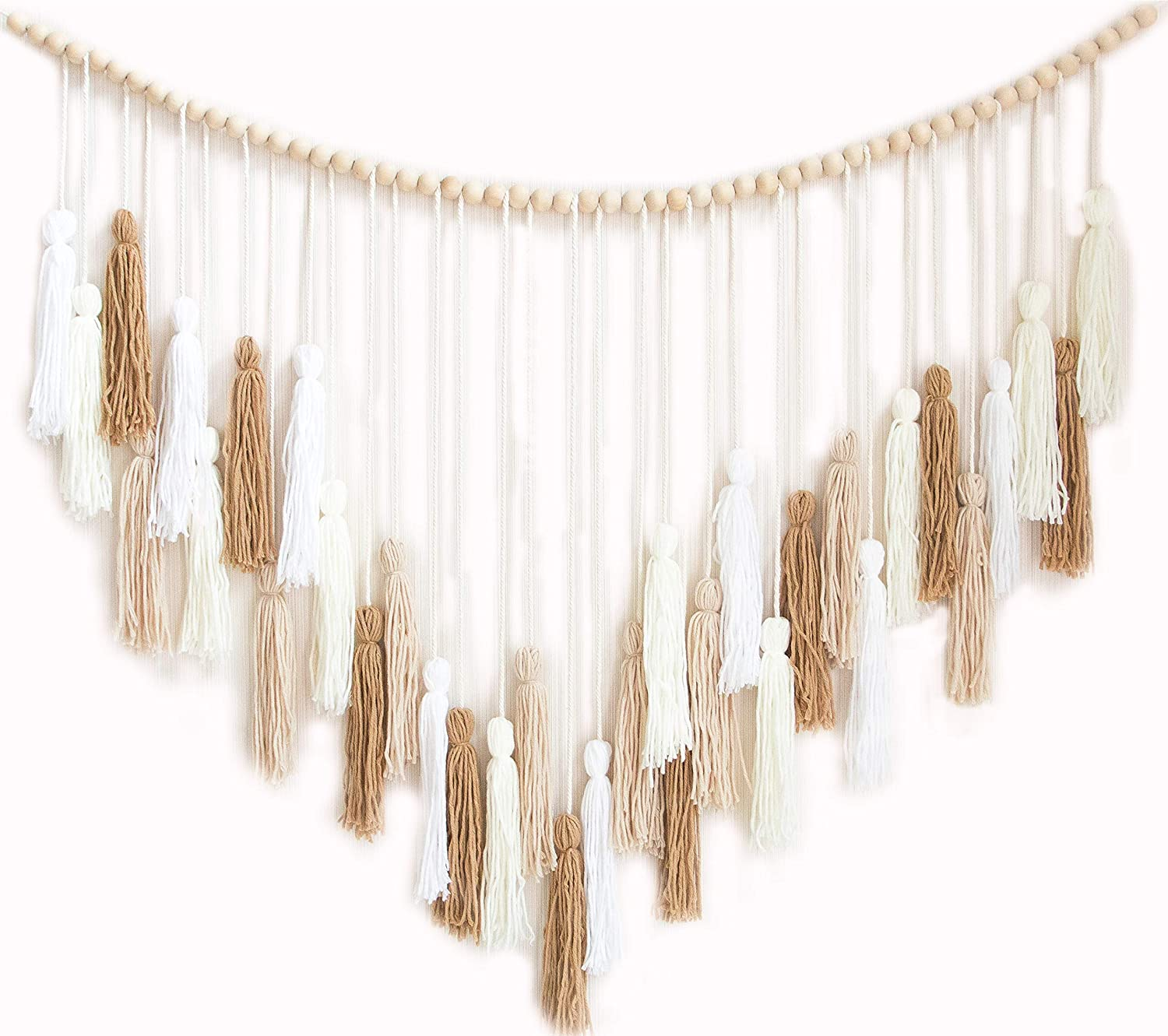 Decocove Macrame Wall Hanging - Large Macrame Wall Hanging with Wood Beads - Bohemian Wall Decor for Bedroom, Living Room and Kitchen - Cream and Beige - 35'' x 36''