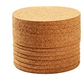 Cork Coasters - Absorbent Cork Drink Coasters Bar Size - Tan - Set of 12 - 4-Inches, 1/4-Inch Thick