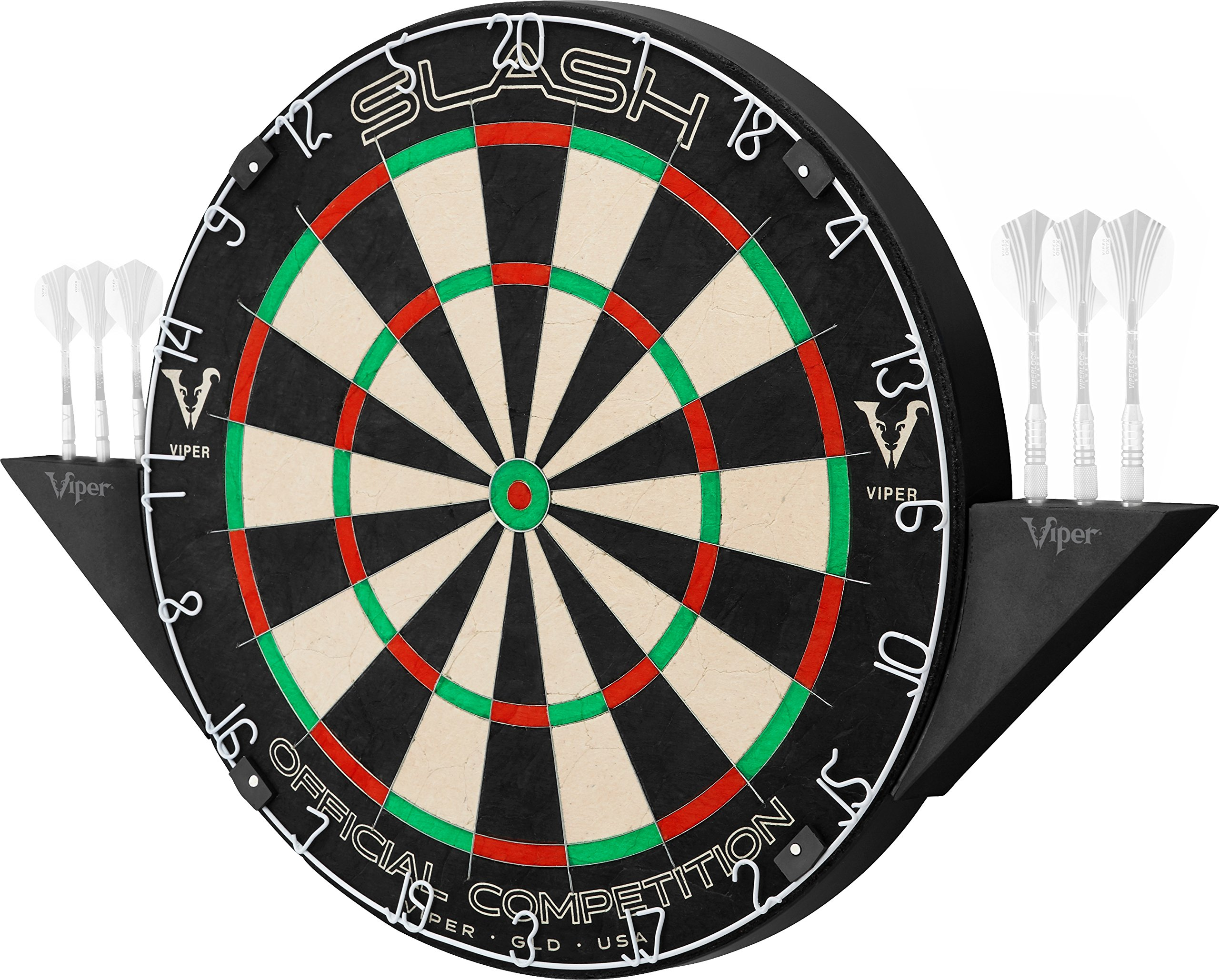 Viper Slash Official Competition African Sisal Self-Healing Bristle Steel Tip Dartboard with Magnetic Dart Holders