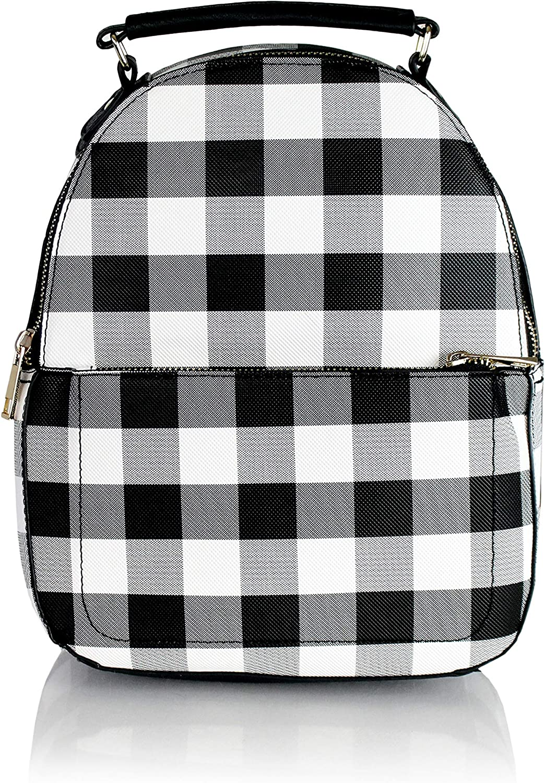Cute Gingham Plaid Vegan Leather Daypack Mini Women/'s Travel Backpack Bag