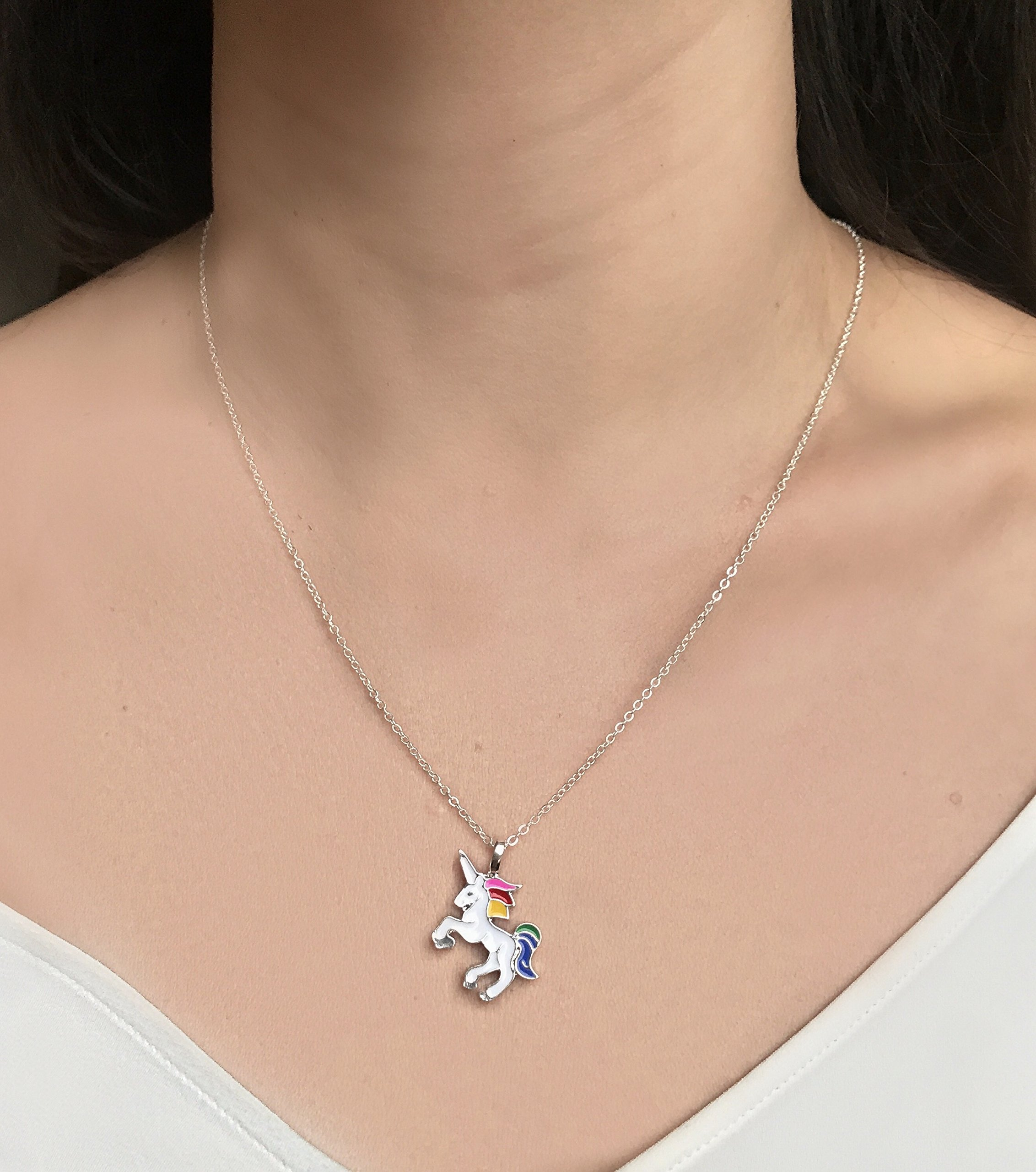 Altitude Boutique Unicorn Necklace Magical Pendant Gift for Girls or for Women Gold Silver Colorful Enamel 9