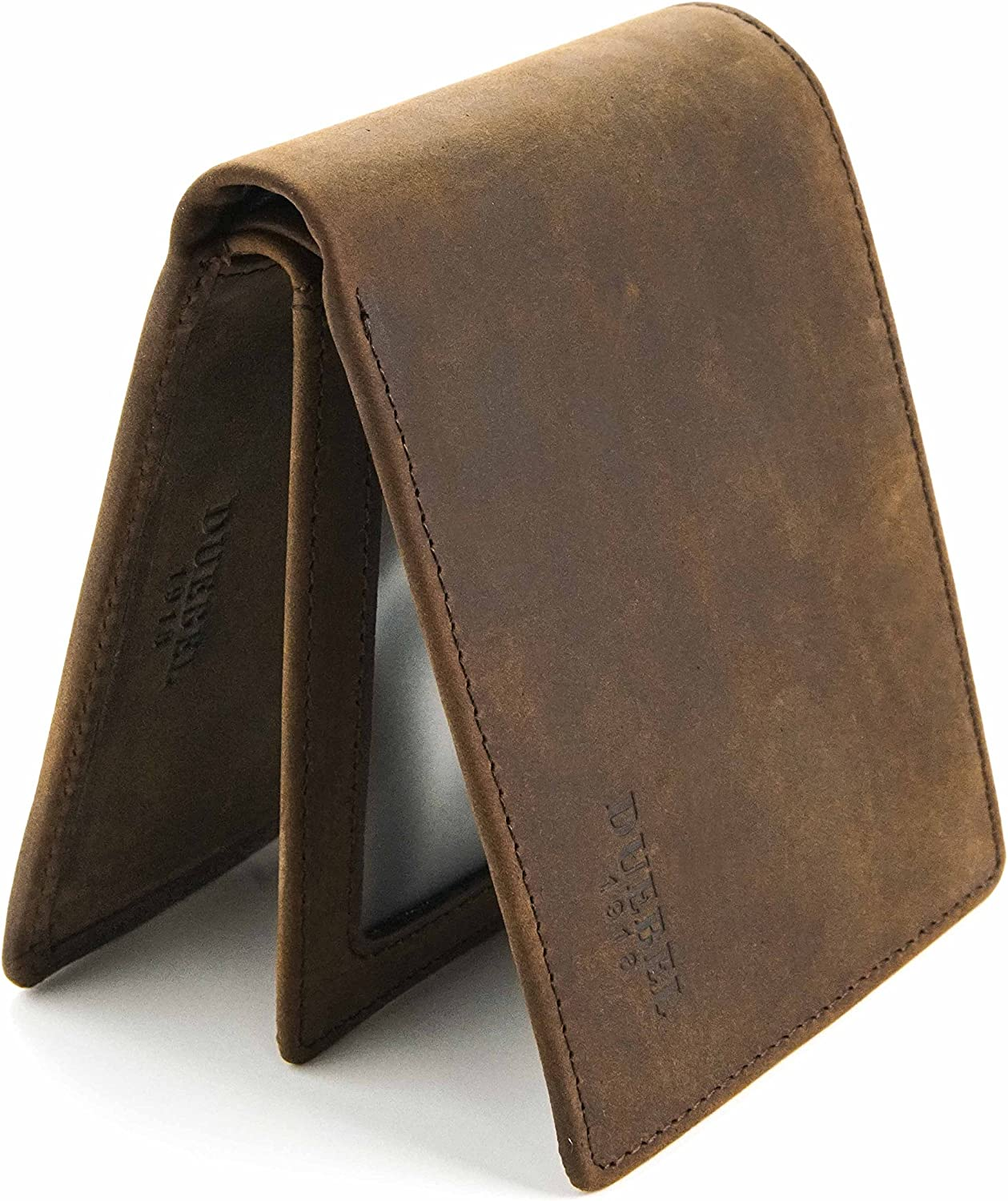 DUEBEL Vintage Full-grain Leather Wallet with ID Window