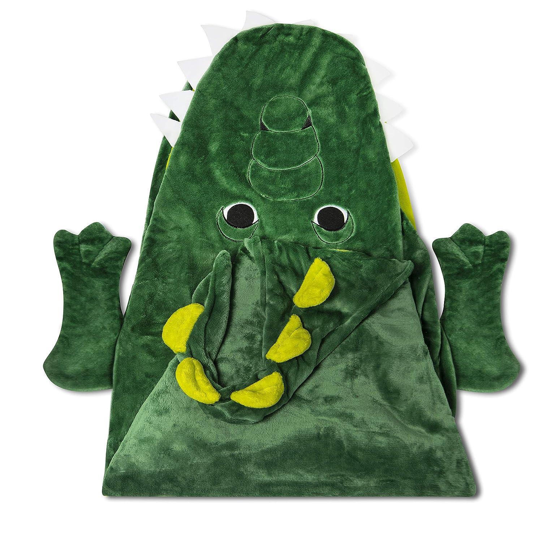 "Kids Hooded Alligator Throw Green 30"" x 50"" Wearable Blanket Pretend Play"