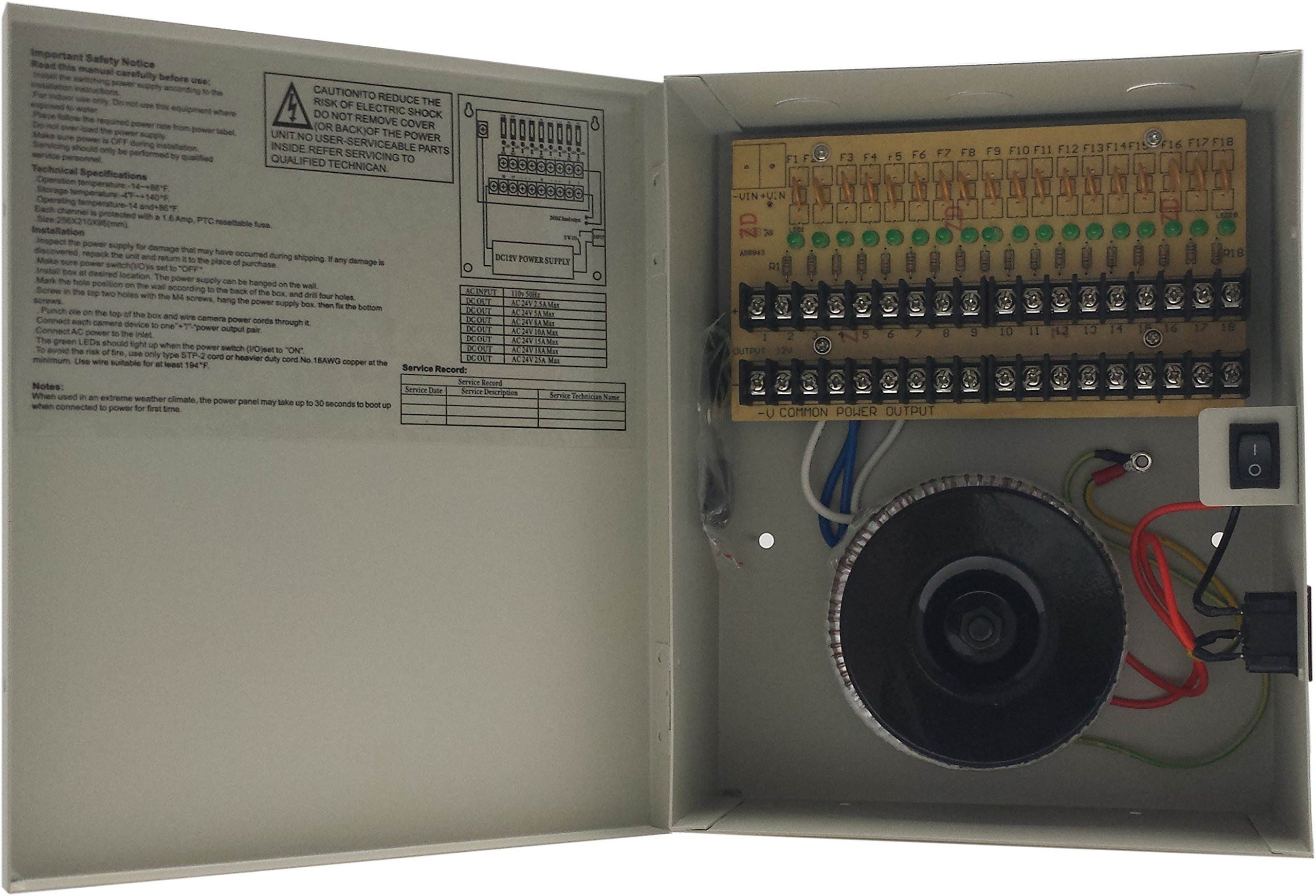 18 Ch 24v AC, 10 Amp CCTV Security Camera Distributed Power Supply with Individually (Smart)Fused Outputs