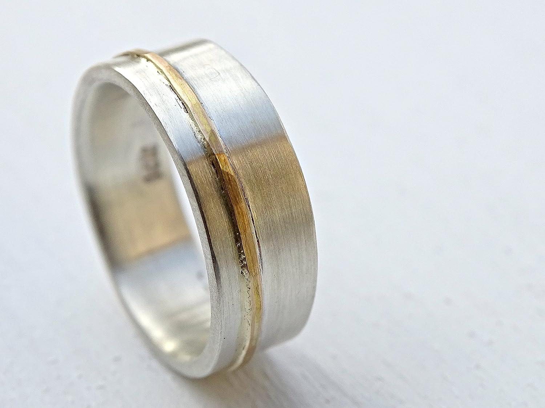 Amazon: Viking Wedding Ring, Mens Wedding Band Gold Silver, Unisex Wedding  Ring Silver, Gold Silver Ring Two Tone Mixed Metal Ring Silver Gold Inlay: